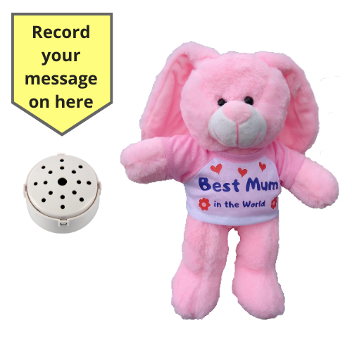 "8"" Best Mum Pink Bunny  - Recordable Bear"